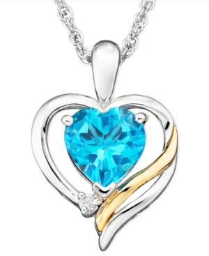 14k Gold and Sterling Silver Pendant, Blue Topaz (1-3/8 ct. t.w.) and Diamond Accent