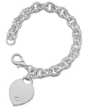 GUESS Bracelet, Polished Silvertone Heart