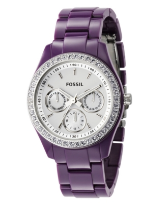 Fossil Watch, Women's Purple Plastic Bracelet ES2369