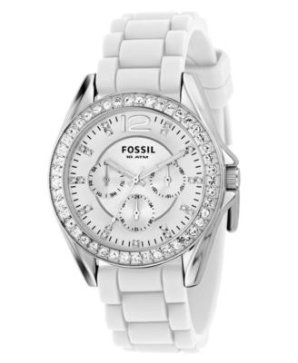 Fossil Watch, Women's White Silicone Strap