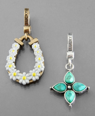 Lucky Brand Charms, Horseshoe and Flower - Pendant Necklaces