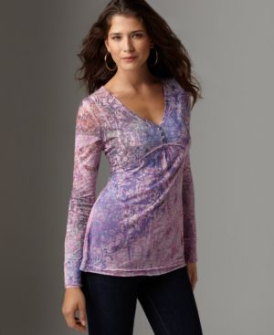 One World Top, Mixed Print Burnout Sublimation Henley Knit