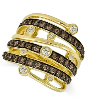 Le Vian 14k Gold Chocolate and White Diamond Multi-Row Ring (3/4 ct. t.w.)