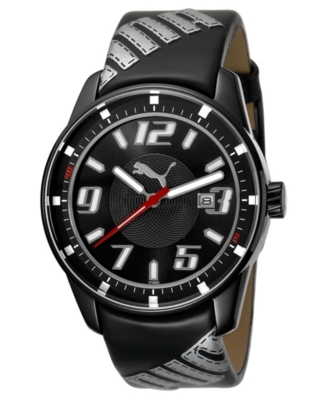 Puma Watch, Black and Gray Leather Strap