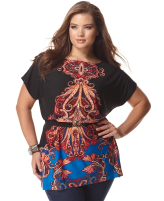 NY Collection Plus Size Top, Placed Prined Tunic with Belt