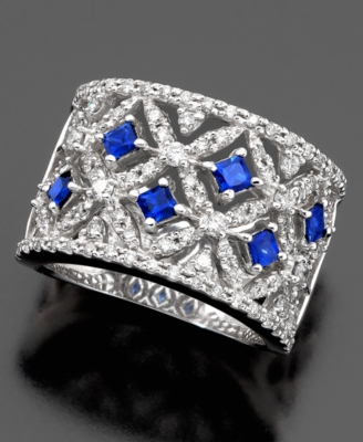 14k White Gold Ring, Sapphire (3/4 ct. t.w.) & Diamond (3/4 ct. t.w.) - EFFY Collection