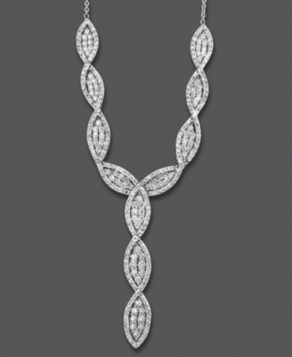 14k White Gold Necklace, Diamond Marquee (2 ct. t.w.)