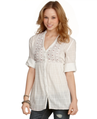 American Rag Top, Embroidered Button Down Tunic