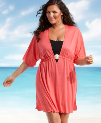 Dotti Plus Size Cover Up, Shell Detail Knit Tunic Women's Swimsuit
