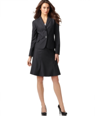 Calvin Klein Plus Size Suit, Pinstriped Jacket & Skirt - Suits