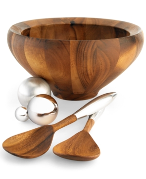 "Nambe ""Yaro"" Medium Salad Bowl with Servers"