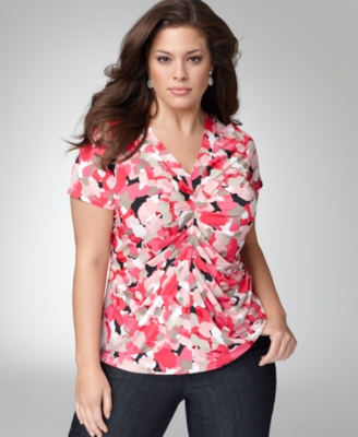 Alfani Plus Size Top, Short Sleeve Floral