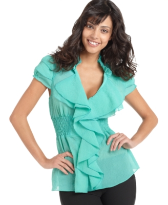 XOXO Top, Waterfall Ruffle Blouse