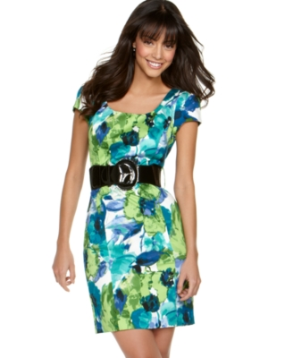 BCX Dress, Floral Print Sheath with Belt