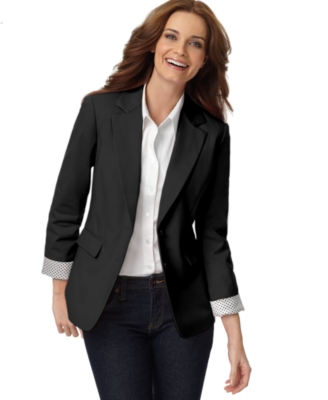 Rafaella Petite Blazer, Two Button Long Sleeve with Contrast Cuffs