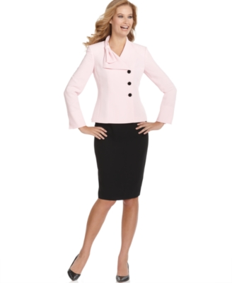 Suit Studio Suit, Bow Collar Contrast Skirt