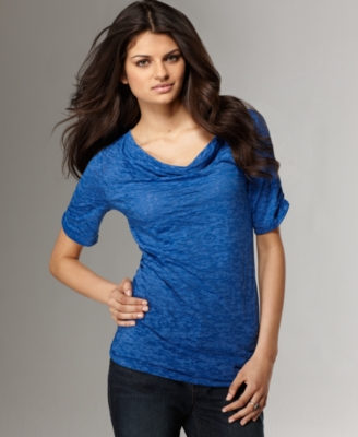 DKNY Jeans Top, Cowl Neck Elbow Sleeve