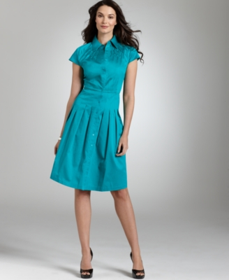 Alfani Petite Dress, Cap Sleeve Button Front Pintucked