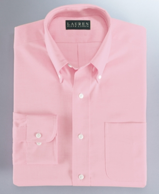 Lauren Ralph Lauren Dress Shirt, Pink Solid Pinpoint