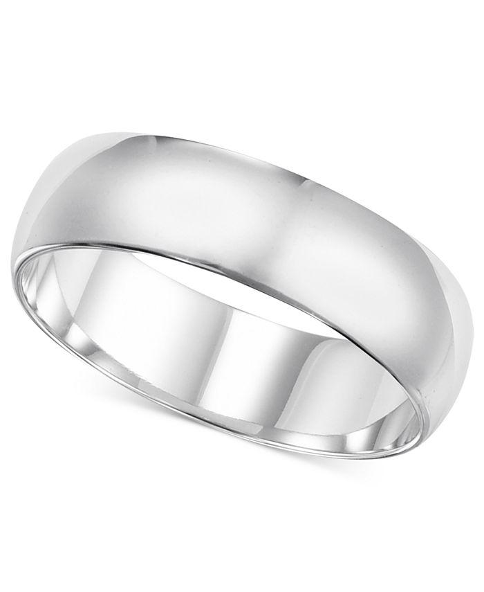 Macy's - 14k White Gold Ring, 6mm Wedding Band