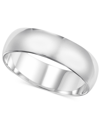 14k White Gold Ring, 6 mm Band (Size 8.5-13)