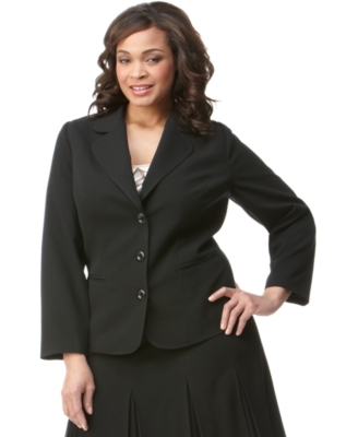 AGB Plus Size Jacket, Stretch Suiting Three Button