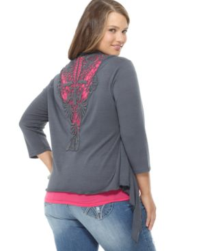 L8ter Plus Size Cardigan, Open Front Draped with Crocheted Back