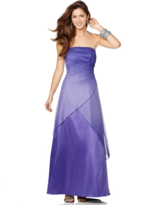Jump Prom Dress, Strapless Glitter Ombre Ball Gown
