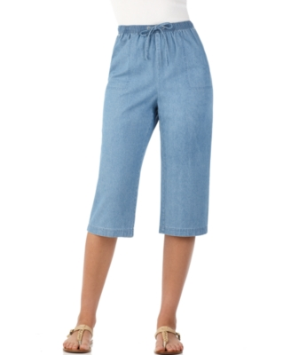 Karen Scott Petite Jeans, Lightweight Cropped Pull On