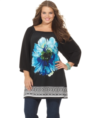 NY Collection Plus Size Top, Floral Border Print Tunic