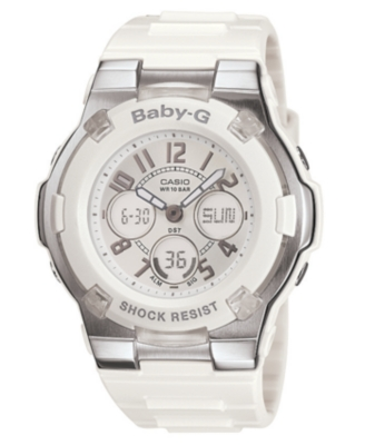 Baby-G Watch, Women's White Resin Strap BGA110-7B