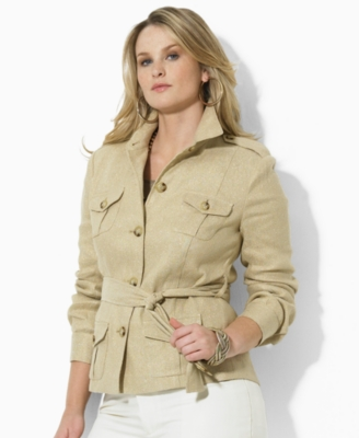 Lauren by Ralph Lauren Plus Size Jacket, Berger Metallic Linen/Silk Safari
