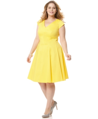 Calvin Klein Plus Size Dress, V Neck Cap Sleeve Cotton