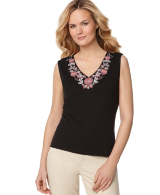 Karen Scott Tank Top, Embroidered V-Neck