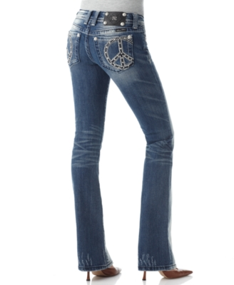 Miss Me Jeans, Bootcut with Peace Sign & Abrasions, Dark Wash