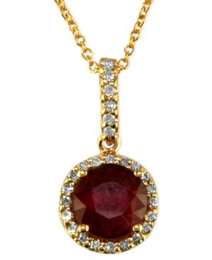 Effy Collection 14k Rose Gold Pendant, Ruby (1-5/8 ct. t.w.) and Diamond (1/8 ct. t.w.)