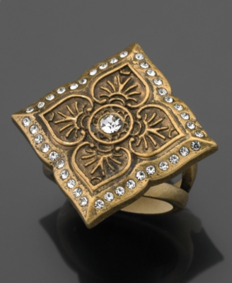 GUESS Ring, Goldtone Square