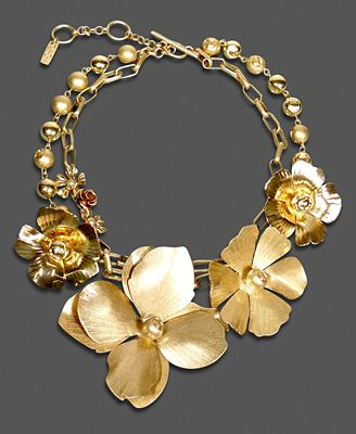 Jessica Simpson Necklace, Gold tone Flower