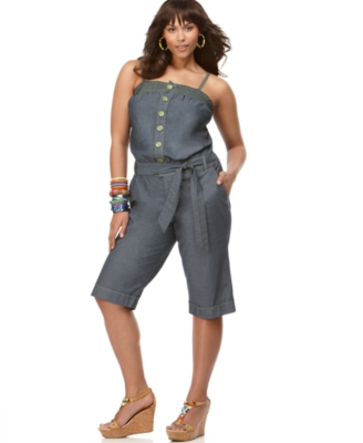 Baby Phat Plus Size Jumper, Chambray Button Front Capri