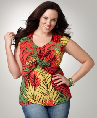 Alfani Plus Size Top, Printed Twist Front