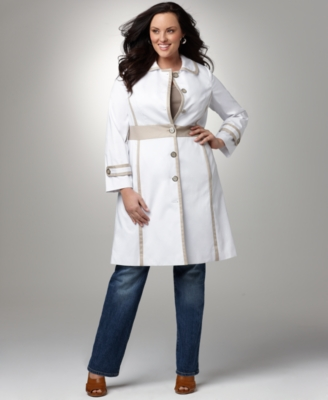Alfani Plus Size Coat, Solid Button Front Dress Coat