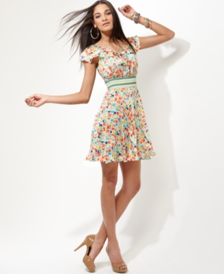 Jessica Simpson Dress, Ruffled Neckline Butterfly Print