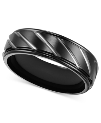 Men's Titanium Ring, Black Band (Size 8-15)