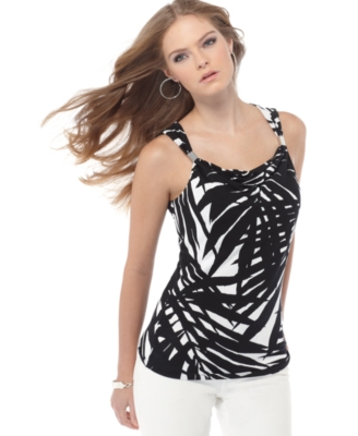 Michael Kors Petite Top, Sleeveless Palm Print