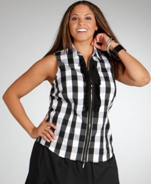 Alfani Plus Size Shirt, Sleeveless Checked Ruffled Zip