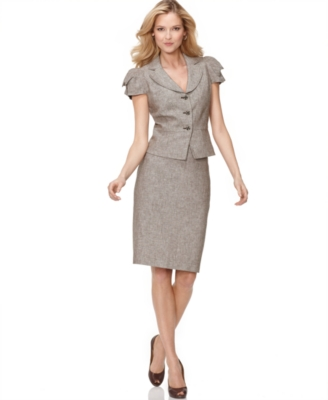 Nine West Suit, Puff Sleeve Linen Blend Jacket & Pencil Skirt