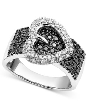 Sterling Silver Ring, Black and White Diamond Heart (3/4 ct. t.w.) - Macy's