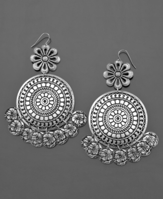 GUESS Earrings, Flower Disk