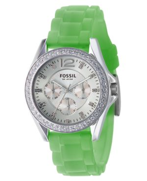Fossil Watch, Women's Green Silicone Strap ES2523
