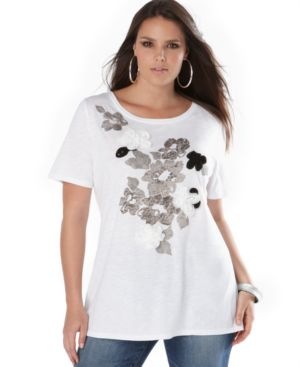 INC International Concepts Plus Size Top, Cap Sleeve Rose Tee